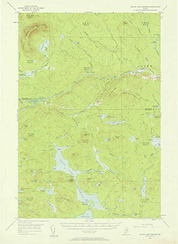YellowMaps Grand Lake Seboeis ME topo map, 1:62500 Scale, 15 X 15 Minute, Historical, 1954, Updated 1958, 20.8 x 15.2 in - Paper -