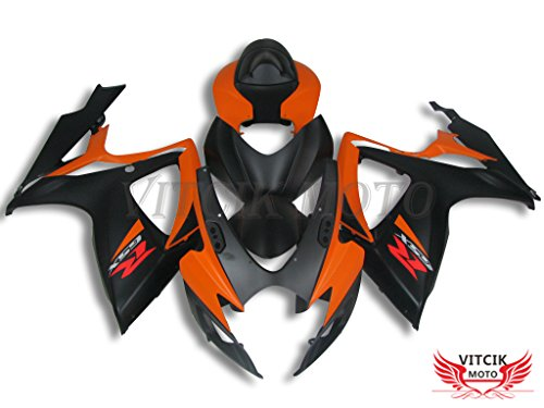 VITCIK (Fairing Kits Fit for Suzuki GSX-R750 GSX-R600 K6 2006 2007 GSXR 600 750 K6 06 07) Plastic ABS Injection Mold Complete Motorcycle Body Aftermarket Bodywork Frame (Black & Orange) A114