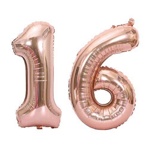 Juland Rose Gold Number 16 Balloons Large Foil Mylar Balloons 40 Inch Giant Jumbo Number Balloons for 16th Birthday Party Decorations -