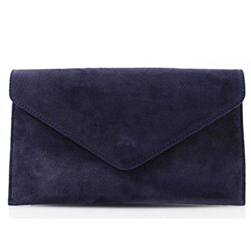 LeahWard Genuine Italian Suede Leather Envelope Clutch Bags Party Wedding Purse Handbag (NAVY)