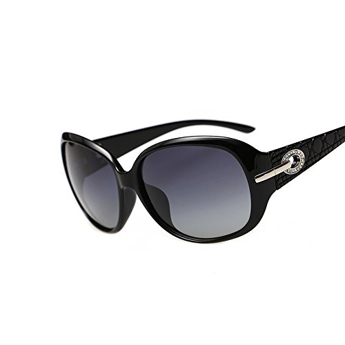 VeBrellen Women Classic Butterfly Shaped Oversized Polarized Sunglasses 100% UV400 Protection Eyewear (Black, - Shaped Butterfly