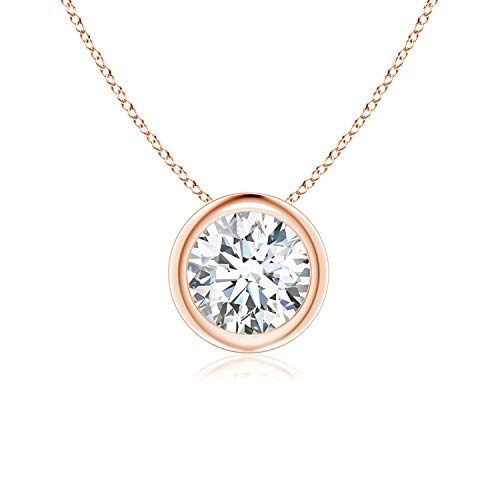 Bezel-Set Round Moissanite Solitaire Pendant in 14K Rose Gold (6mm Moissanite)