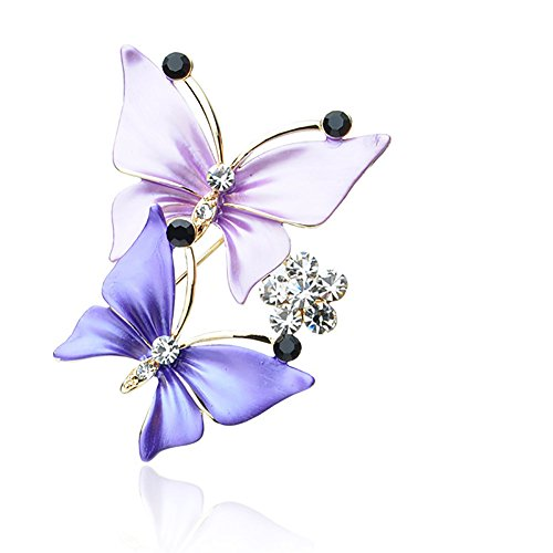 Brooch Dress Butterfly (JUESJ Temperament Crystal Two Butterfly Scarf Button Brooch Pin Dual Purpose for Women Dress Accessories (Purple))