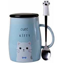 Angelice Home Cute Little Kitty Mug Cat Mug with Creative Stainless Steel Spoon for Cat Lovers Coffee Lovers