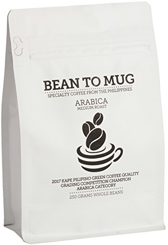 Philippine Specialty Coffee by Bean To Mug - CQI Q GRADED, Whole Bean Coffee, Medial Roast, High Elevation Grown Beans Coffee, Arabica, 250 grams