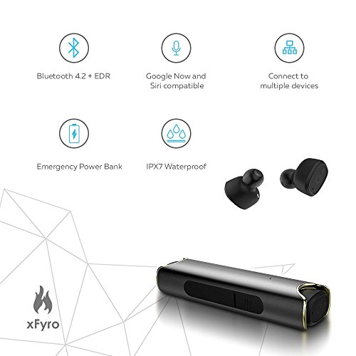 Wireless Earbuds xFyro xS2 Best Bluetooth Headphones with Microphone IPX7 Waterproof Sweatproof Sports Earphones with Stereo Noise Cancelling Headsets for iPhone and Android Charging Case v2 (Black) by xFyro (Image #2)