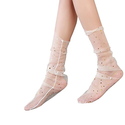 Lace Socks, SUKEQ Women Fashion Glitter Star Thigh High Sock Soft Fishnet Mesh Sock Transparent Elastic Sheer Slouch Ankle sock (White)