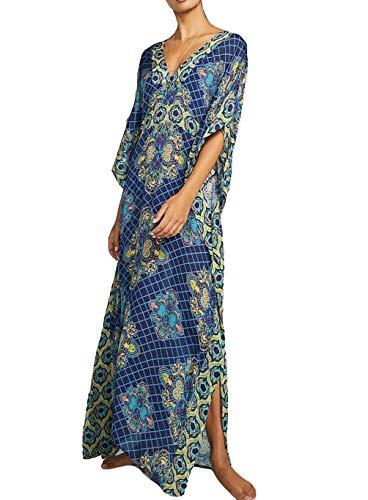 (Bigbigfuture Women's Print Kaftan Loungewear Caftan Beach Long Dress Bikini Swimsuit Cover up Swimwear (Print P) )