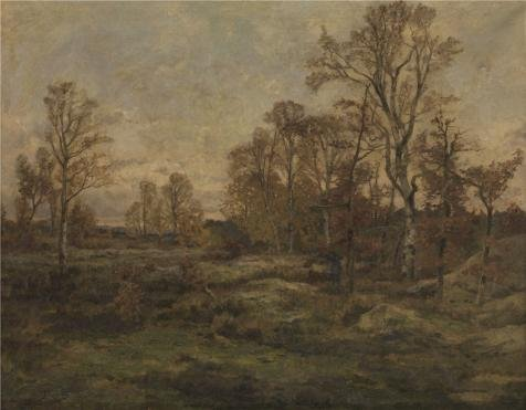 Oil Painting 'Theodore Baron,The Forest Of Fontainebleau,Autumn Night,1840-1899' Printing On Perfect Effect Canvas , 10x13 Inch / 25x33 Cm ,the Best Living Room Gallery Art And Home Gallery Art And Gifts Is This Reproductions Art Decorative Prints On Canvas