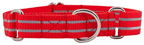 Country Brook Design Red Reflective Polyester Martingale Dog Collar - Extra Large