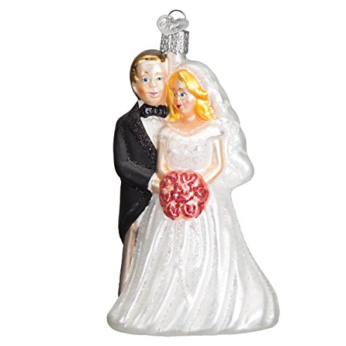 Old World Christmas Glass Blown Ornament S-Hook Gift Box, Wedding Collection (Bridal Couple)