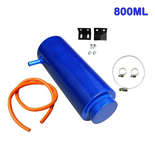 SUPERFASTRACING 800ml Radiator Coolant Aluminum Catch Tank Overflow Reservoir Universal Blue
