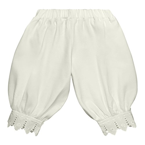 Victorian Organics Little Girl Toddler Pantaloon Organic Cotton Lace Long Pant (3T 3 Toddler, Off-White) by Victorian Organics