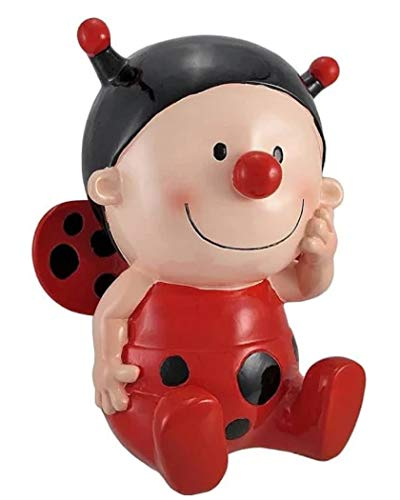 Kingmax Whimsical Ladybug Baby Coin Piggy Bank Resin 79381 10.25 Inches x 8 Inches x 6 Inches