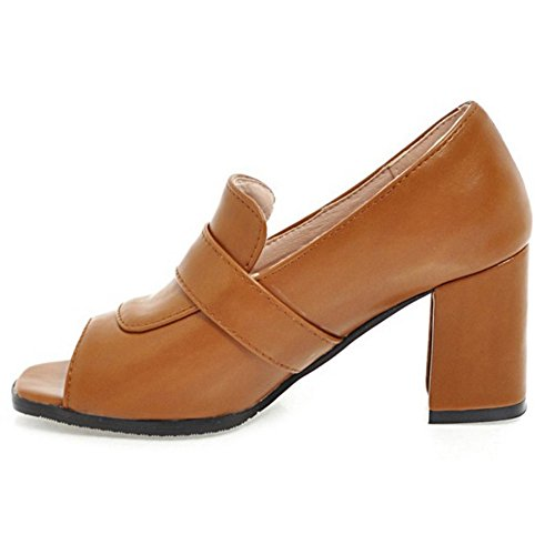 Pumps Peep Women Brown FANIMILA Toe tfPqgwp