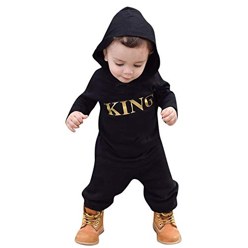 Suma-ma On Sale Newborn Black King Son Babyboys Hoodie Romper Bodysuit Clothes - Casual Playsuit Jumpsuit Outfit -