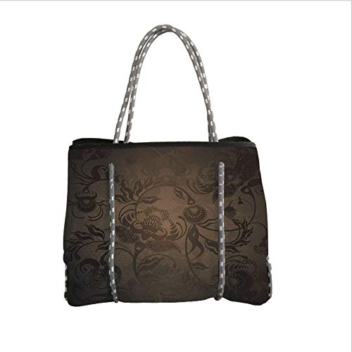 Neoprene Multipurpose Beach Bag Tote Bags,Victorian Decor,Floral Paisley Ivy Design Leaves with Abstract Details Print,Seal Brown Chocolate,Women Casual Handbag Tote Bags