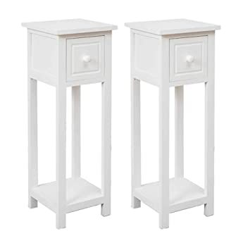reputable site b0abe de3f6 Other Pair of Bedside Tables With Drawer White Two Hallway Slim Living Room  Tables