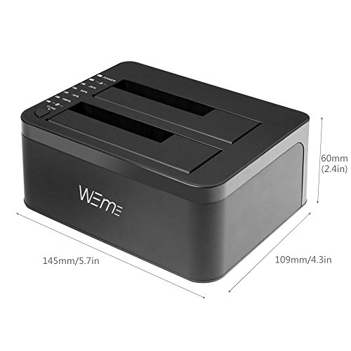 WEme USB 3.0 to SATA Dual-Bay External Hard Drive Docking Station With Offline Clone/ Duplicator Function for 2.5 & 3.5 Inch HDD SSD SATA (SATA I/ II/ III) Support 2x 8TB & UASP, Tool-Free by WEme (Image #4)