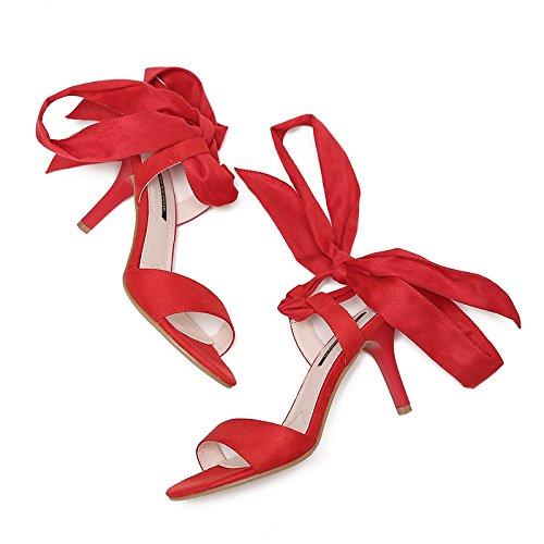 Vivioo Sandalen Vrouwen Hoge Hakken Sandalen Hoge Hakken Schoenen Woord Hoge Hak Vrouwelijke Zomer Met Open Teen Schoenen Woord Kruisband Romeinse Sandalen De Rode