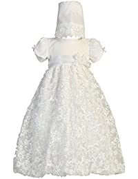 Baby Girls White Embroidered Satin Ribbon Tulle Dress Bonnet Baptism 0-3M 02db3974941