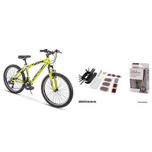 "Huffy 24"" Green Mountain Bike Bundle with Cycling Repair Kit"