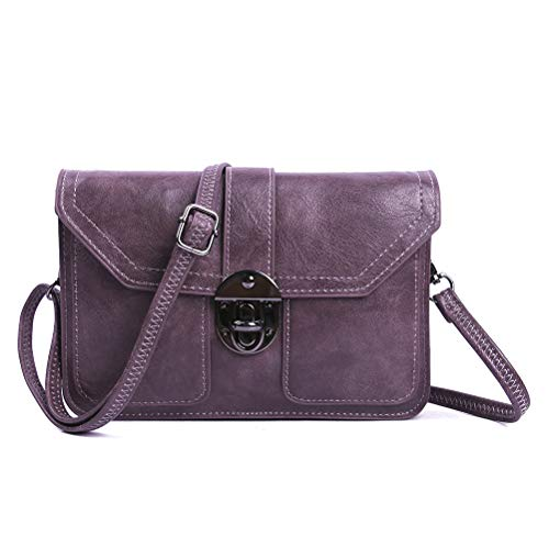Multi Pocket Small Purse Cell Phone Wallet Vegan Leather Crossbody Bags for Women by TENXITER(Purple)