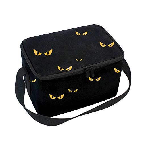 Insulated Lunch Bag Tote with Detachable Adjustable Shoulder Thermal Waterproof Spooky Eyes Halloween Large Capacity Outdoor Picnic Lunch Box for Kids Teens Adults -