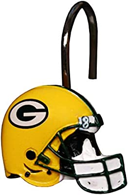 Amazon Green Bay Packers Bathroom Shower Curtain Hooks Rings Set Football Accessories Sports Outdoors