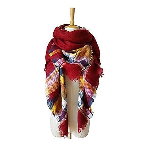 GERGER BO Women Lattice Scarf Large Square Warm Towel(Red) - Harry London Truffles