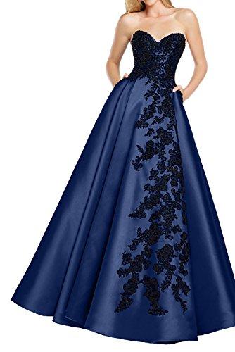 blue strapless floor length prom dress - 1