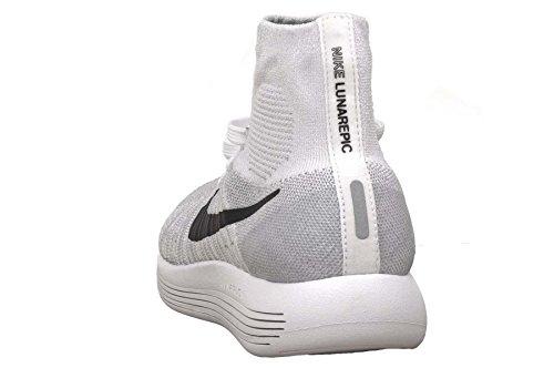 Nike Womens Lunarepic Flyknit Scarpe Da Corsa Bianco / Nero-lupo Grigio-pr Pltnm