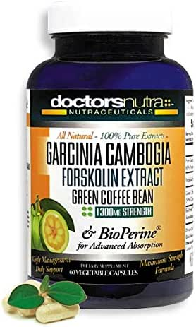 100 Percent Pure Garcinia Cambogia 1300 Milligrams Plus Pure Forskolin Extract by Doctors Nutra Nutraceuticals - 100 Percent Green Coffee Bean Extract -Weight Loss and Curbs Appetite - All Natural