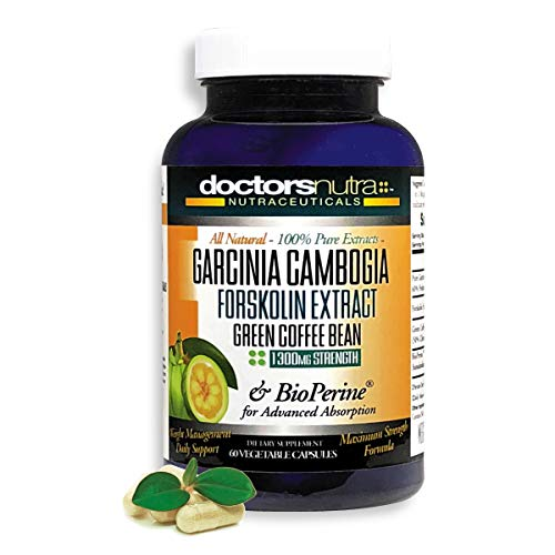 100% Pure Garcinia Cambogia 1300mg Plus Pure Forskolin Extract by Doctors Nutra Nutraceuticals - 100% Green Coffee Bean Extract - Weight Loss and Curbs Appetite - Maximum Strength - All Natural
