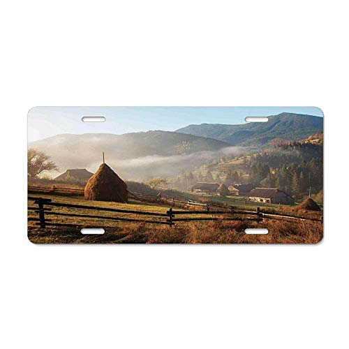 (Kingsinoutdoor Woodland Decor,Morning Mist Haze in Mountain Woodland Autumn Dawn Houses Fences Landscape, Novelty Decorative License Plate Cover Front Car Tag Plate Aluminum Metal 6