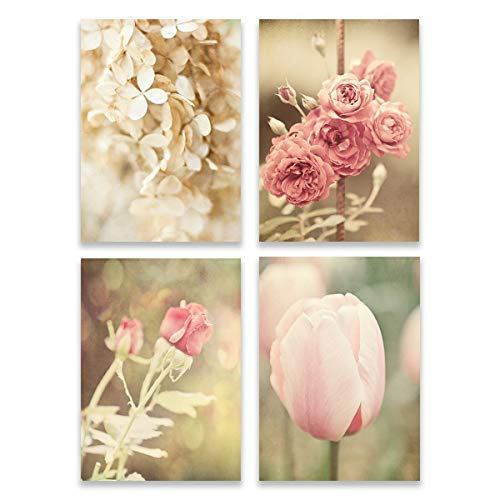 Cottage Pink Roses - Pink Shabby Chic Cottage Style Wall Art Home Decor Set of 4 Unframed 5x7