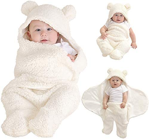 LifeTree Soft Newborn Baby Blankets Neutral, Infant Soft Baby Plush Blankets for Baby Boys & Girls, Cute Baby Hooded Swaddle Blanket Sleeping Bag Swaddle Wrap