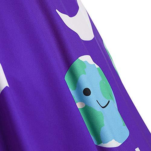 Robe Pour Vintage Évasée Longues À Manches Violet Femmes Et Boutons Mrulic 4AUqRwU