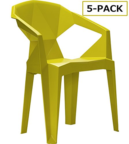 LSCING Modern Plastic Stackable Restaurant School Office Accent Dining Room Waiting Room Bedroom Kitchen Conference Side & Stacking Chairs, Set of 5, Lemon Yellow