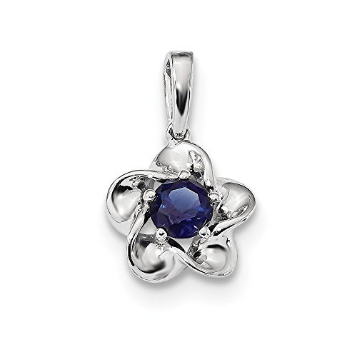 - 925 Sterling Silver Floral Created Sapphire Pendant Charm Necklace Set Birthstone September Fine Jewelry Gifts For Women For Her