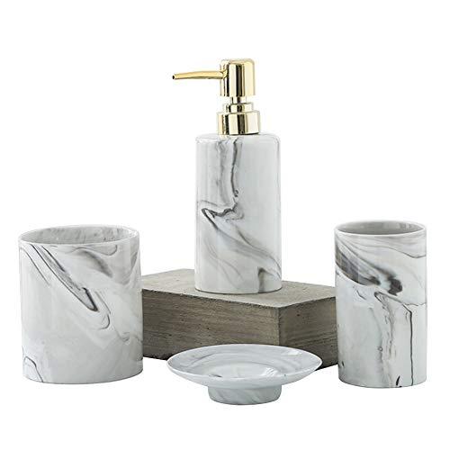 kaileyouxiangongsi 4Pcs Bathroom Accessories Set, Includes Countertop Soap Dispenser, Dish, Tumbler, Toothbrush Holder, Ceramic Vanity Ensemble Set(Grey)