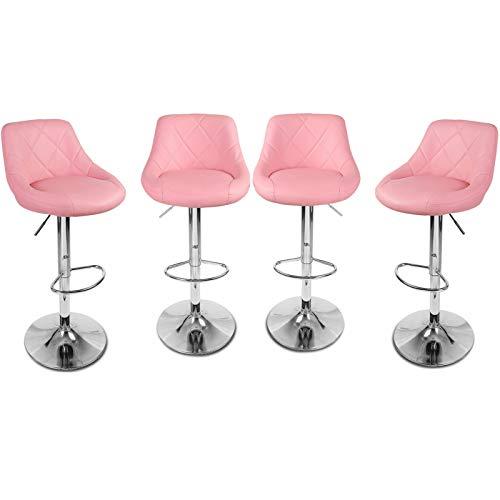 Magshion Faux Leather Bar Stools Adjustable 360 Degree Swivel Backrest Footrest Barstool Set of 4 Style02-Pink