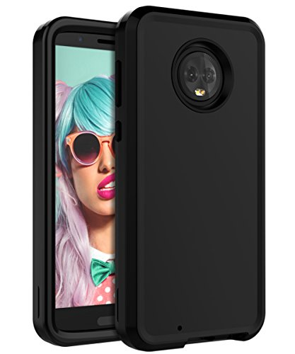 Miubox Case for Motorola Moto G6,Heavy Duty Shockproof Hard Plastic and TPU Bumper Protection Cover Case for Women Girls Men for Motorola Moto G6,Black