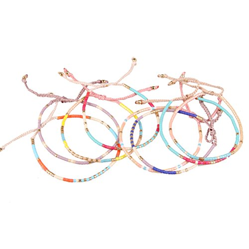 KELITCH Color Mixed Shell Seed Beads Strand Bracelet Hand Woven Fashion Jewelry Bangles