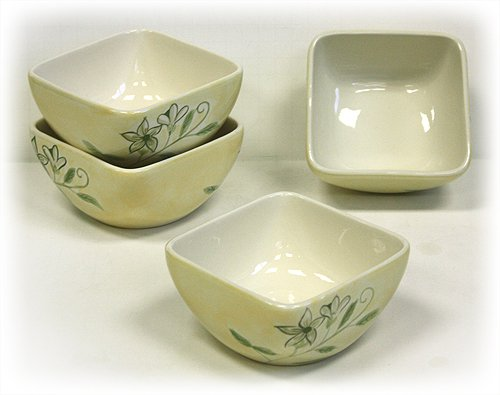 4 Piece Flora Soup/Cereal Bowls by Hues & Brews ()