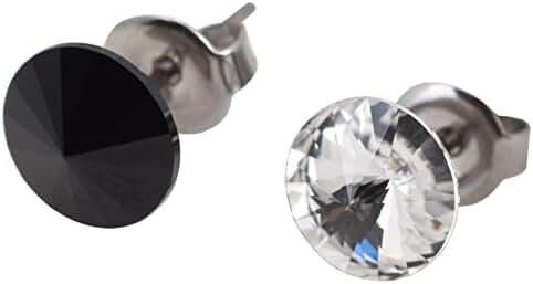 galaxyjewelry B/W ONYX CRYSTAL Titanium Post Earring Stud, No Allergic Reaction