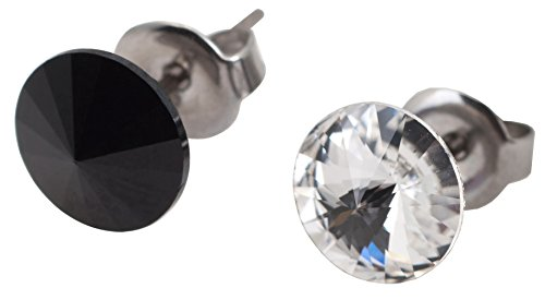 galaxyjewelry B/W ONYX CRYSTAL Titanium Post Earring Stud, No Allergic Reaction/8mm pair