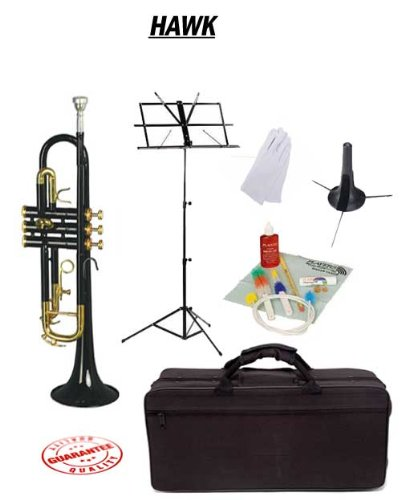Hawk Black Bb Trumpet School Package with Case Music Stand Trumpet Stand and Cleaning Kit WD-T314-BK-PACK
