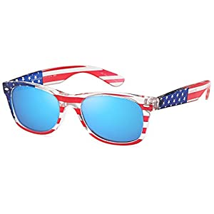 GAMMA RAY UV400 55mm Classic Adult Style Sunglasses - Mirror Blue Lens on American Flag Frame