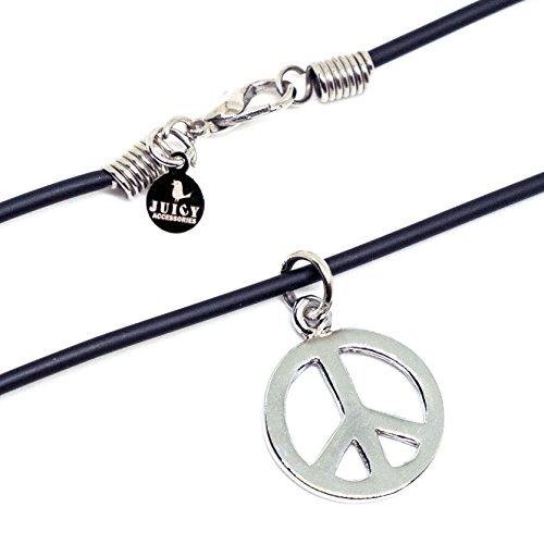 "Pop Art Inspired Costume (Black Hippie Necklace 18"" - Peace Sign Love Pendant - PVC 2mm Necklace)"